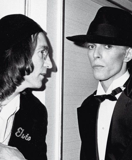Lennon and Bowie at the Grammy's 1975 - spot Elvis!