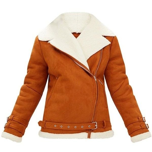 Tan Faux Suede Aviator Jacket ($85) ❤ liked on Polyvore featuring outerwear, jackets, aviator jacket, orange jacket, tan faux suede jacket, tan jacket and faux suede jacket