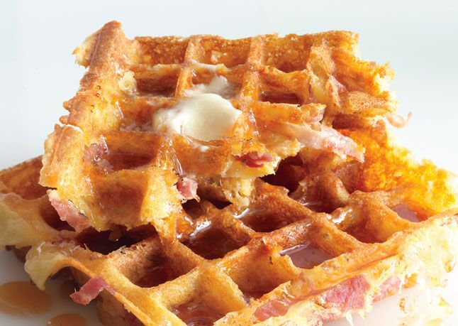 Light & Fluffy Waffles - the recipe calls for ham & cheese too but you can skip that - whipping the egg whites into a meringue is the brilliant part.  Read the comments tho and cut the butter in half, only one stick, not two.  Could also use them as wraps with scrambled eggs inside.