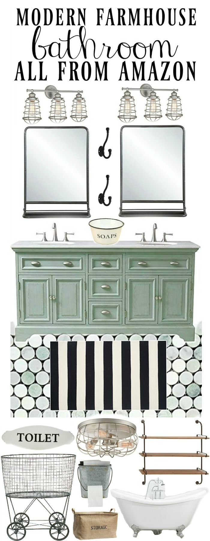 Modern farmhouse bathroom design - using all products from Amazon!