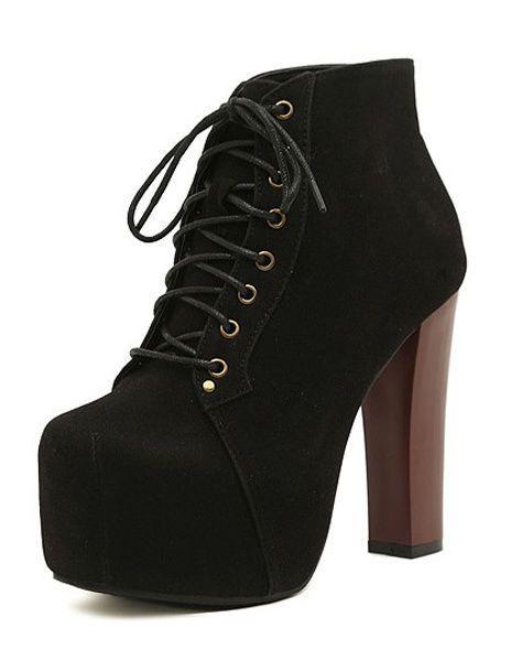 Stivaletti Donna Stringati tacco alto moderno Micro pelle scamosciata Women boot