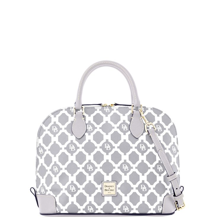 Dooney & Bourke | Sanibel Zip Zip Satchel | Our Sanibel Zip Zip channels classic Palm Beach style with a breezy lattice print.