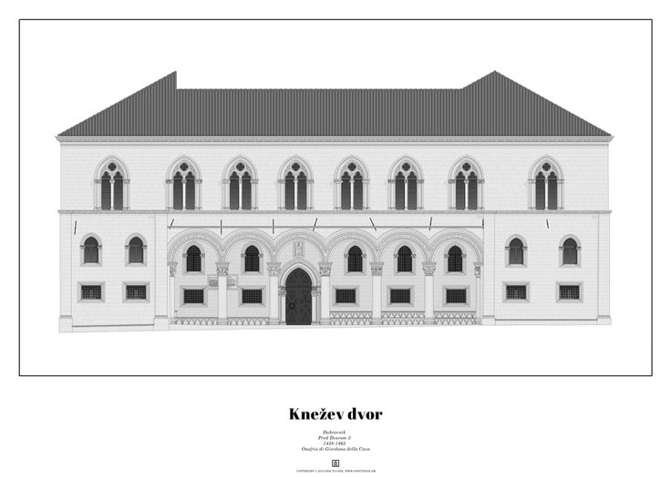 Elevation of Rector's Palace in Dubrovnik, accurate to scale.