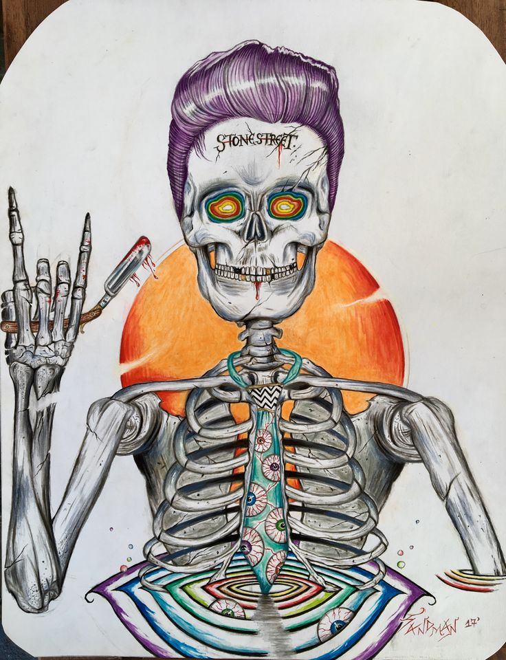 """Dying for a Haircut"", skeleton design for t-shirt. By Socrates Sandman."