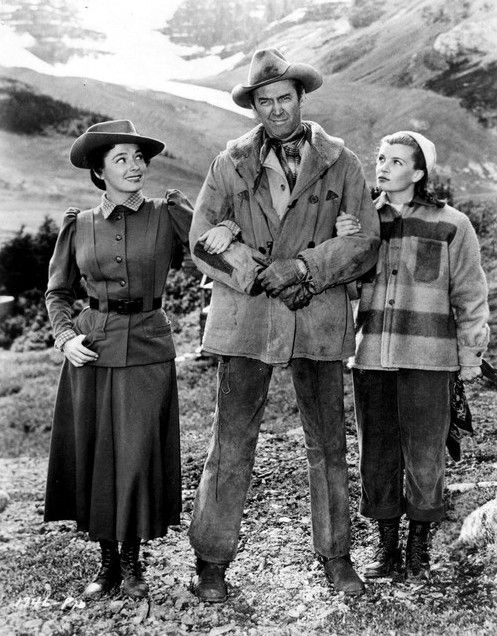 THE FAR COUNTRY (1954) - Ruth Roman, James Stewart, and Corinne Calvet - Directed by Anthony Mann - Universal-International Pictures - Publicity Still.