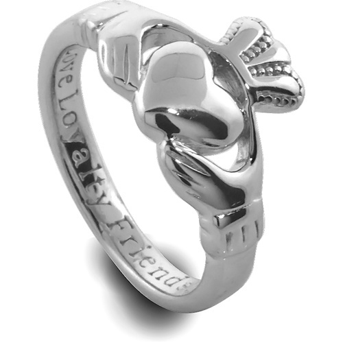 Silver Comfort Fit Claddagh Ring with inscription: love, loyalty, friendship