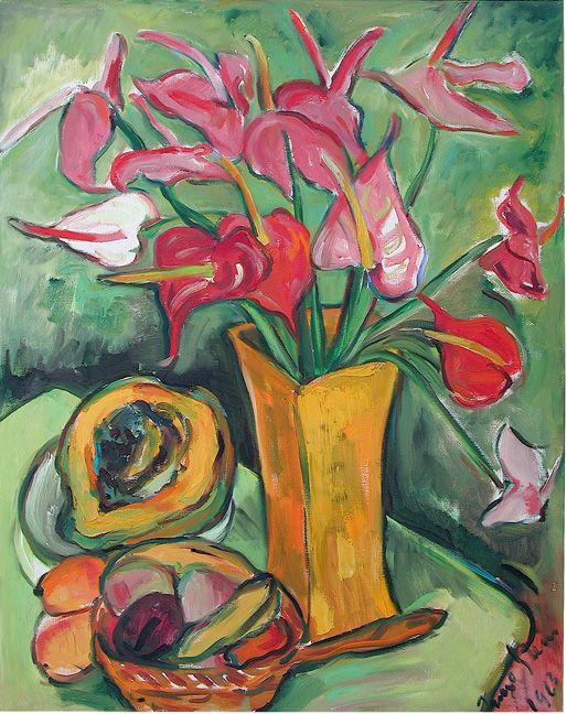 Still life with anthuriums.Irma Stern