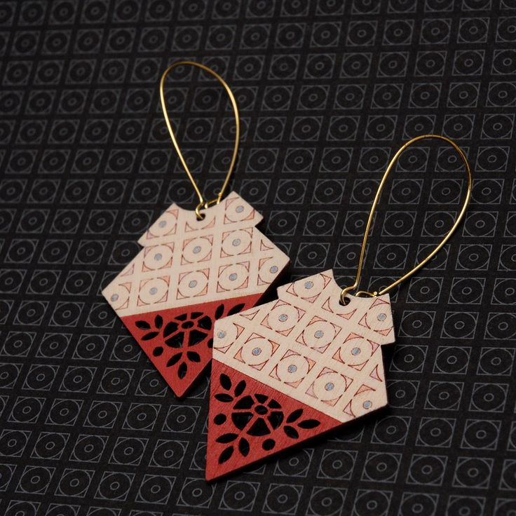 Large, bold, yet lightweight earrings inspired by the embroidered Mexican dresses worn by Frida Kahlo.Materials: Sustainably harvested Birch cut using green power, Raw Brass (Lead and Nickel fr...