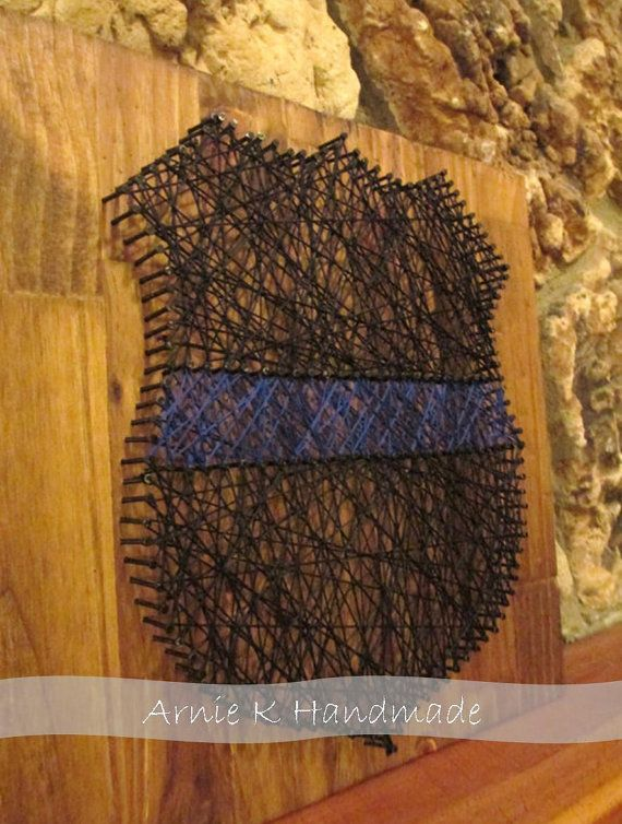 Wall Hanging, String Art Thin Blue Line, Police Officer Badge, Wall Decor (etsy)
