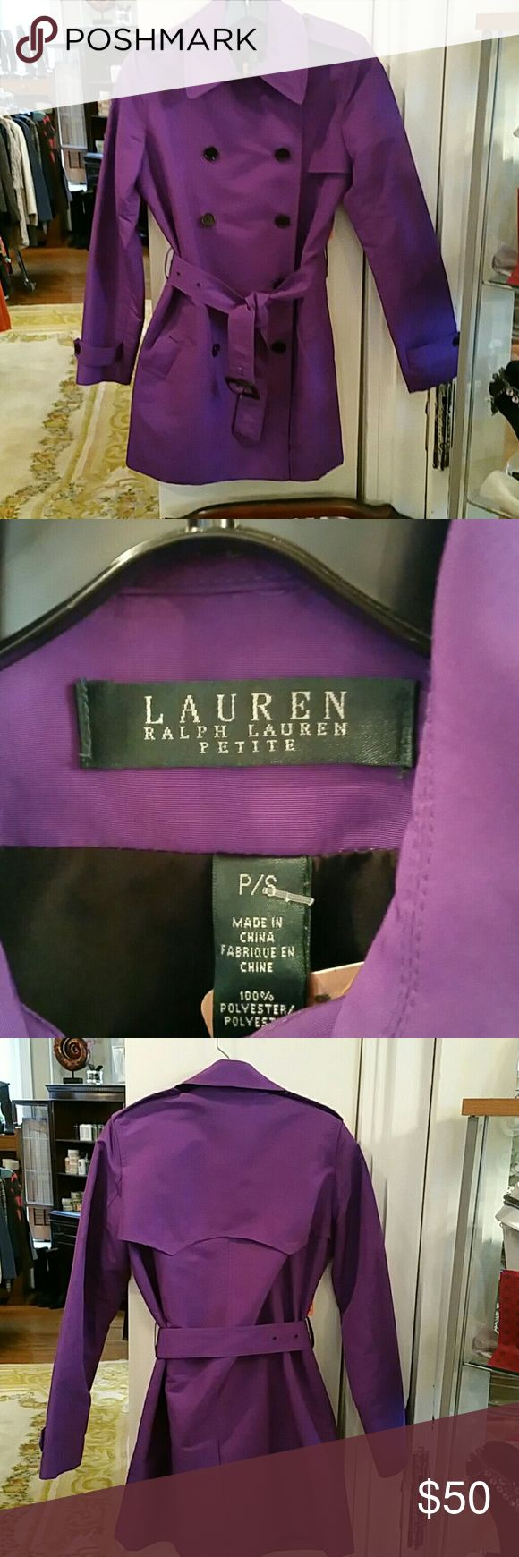 Ralph Lauren Purple Trench Coat sz Petite Small Ralph Lauren Purple Trench Coat sz Petite Small  Button and Belt closure, 2 front slit pockets 100% polyester Ralph Lauren Jackets & Coats Trench Coats