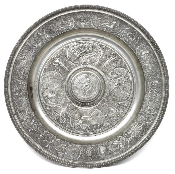 Temperantia Basin of circa 1585, cast in pewter from a mould by Francois Briot of Montbeliard, France and acquired by the Victoria and Albert Museum in 1855 for the sum of £19. Even during his own lifetime, Briot's prototype was imitated by other craftsmen. Bernard Palissy (ca.1510-ca.1590) cast a replica in earthenware in the 1580s. This, in turn, was replicated again in earthenware during the mid 19th century by Georg Pull (1810-1889).