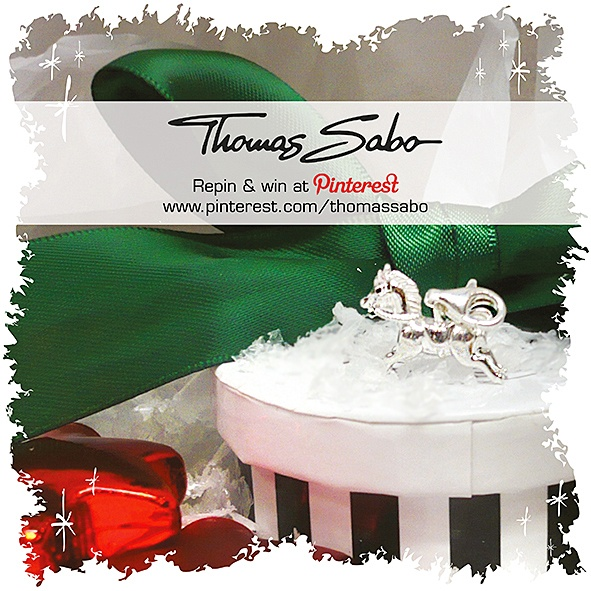 One lucky winner will be drawn on December 18, 2012! Important: Your facebook or twitter account must be linked to your Pinterest profile! Terms and conditions:   http://images.thomassabo.com/www/2/2012/11/TC-Pinterest-Xmas-Sweepstake.pdf