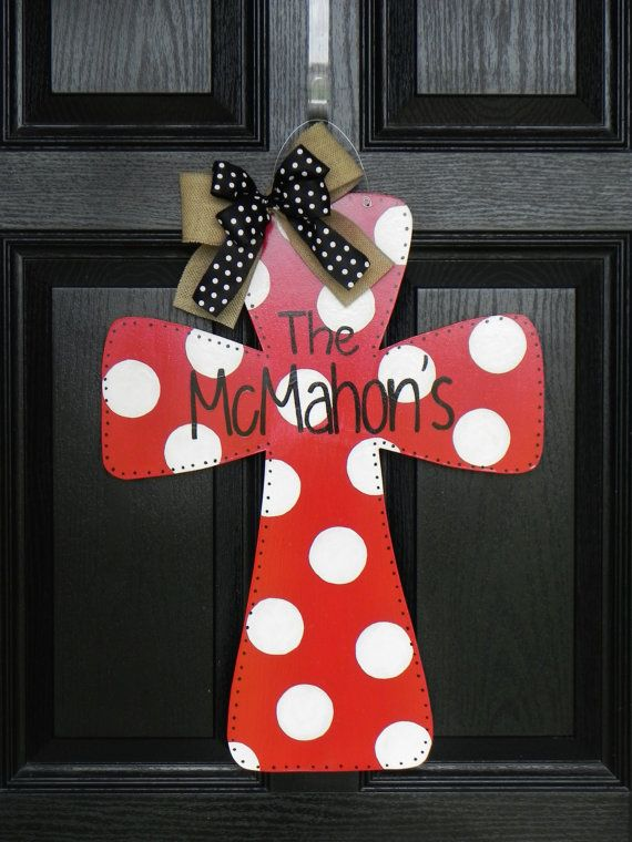 Wooden Cross Door Hanger by TylerCatherines on Etsy, $40.00