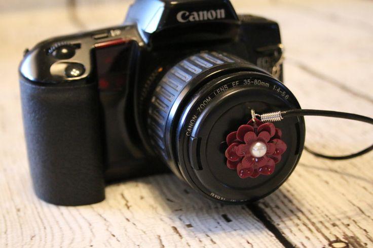 Lens Cap Holder - Pink Flower Lens Cap Leash - Camera Lens Cap Strap - Camera Strap for Lens Cap - Camera Lens Cap Pocket - Camera Accessory by turtletaylor on Etsy