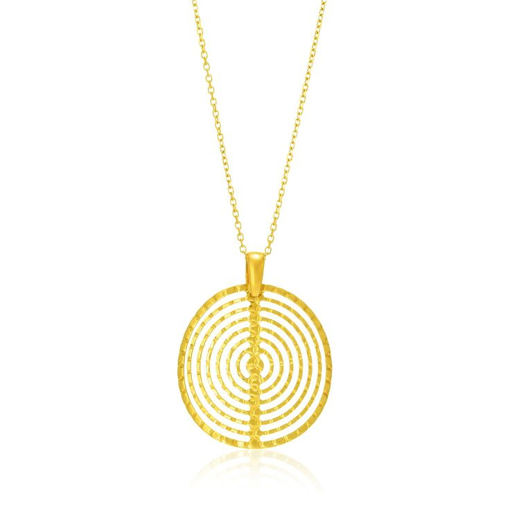 14K Yellow Gold Textured Concentric Circle Pendant