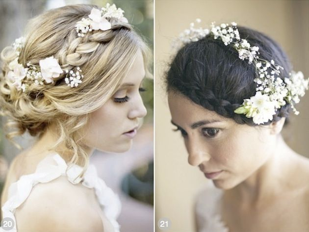 romantic boho braided up dos with roses and baby's breath woven into the braids...sigh.