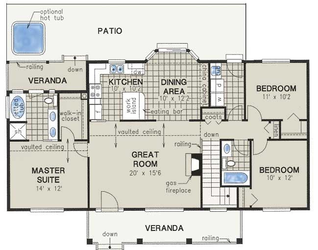 Elegant Country Style House Plans   1412 Square Foot Home , 1 Story, 3 Bedroom And