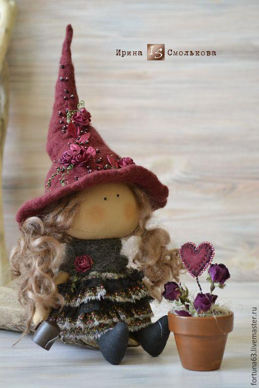 Купить текстильная кукла ВЕДЬМОЧКА - бордовый, текстильная кукла, кукла, кукла ручной работы