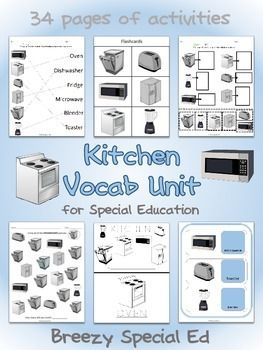 34 page vocab unit includes flashcards, worksheets, file folders, and a data sheet on the pictures/words: oven, fridge, dishwasher, microwave, toaster, and blender.