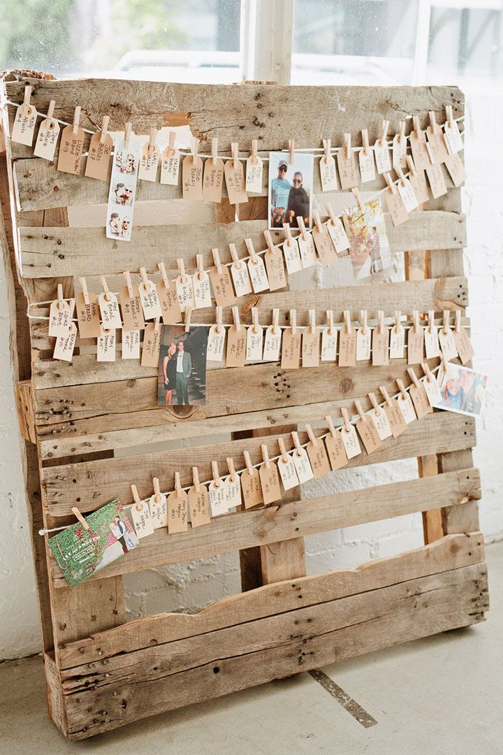 Pallet used for seating chart ~ we ❤ this! moncheribridals.com