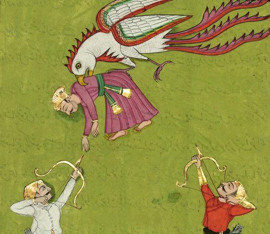 Łucznicy strzelają do olbrzymiego ptaka. W jego dziobie znajduje się mężczyzna zamiast kobiety albo w wyniku pomyłki albo żartu miniaturzysty.