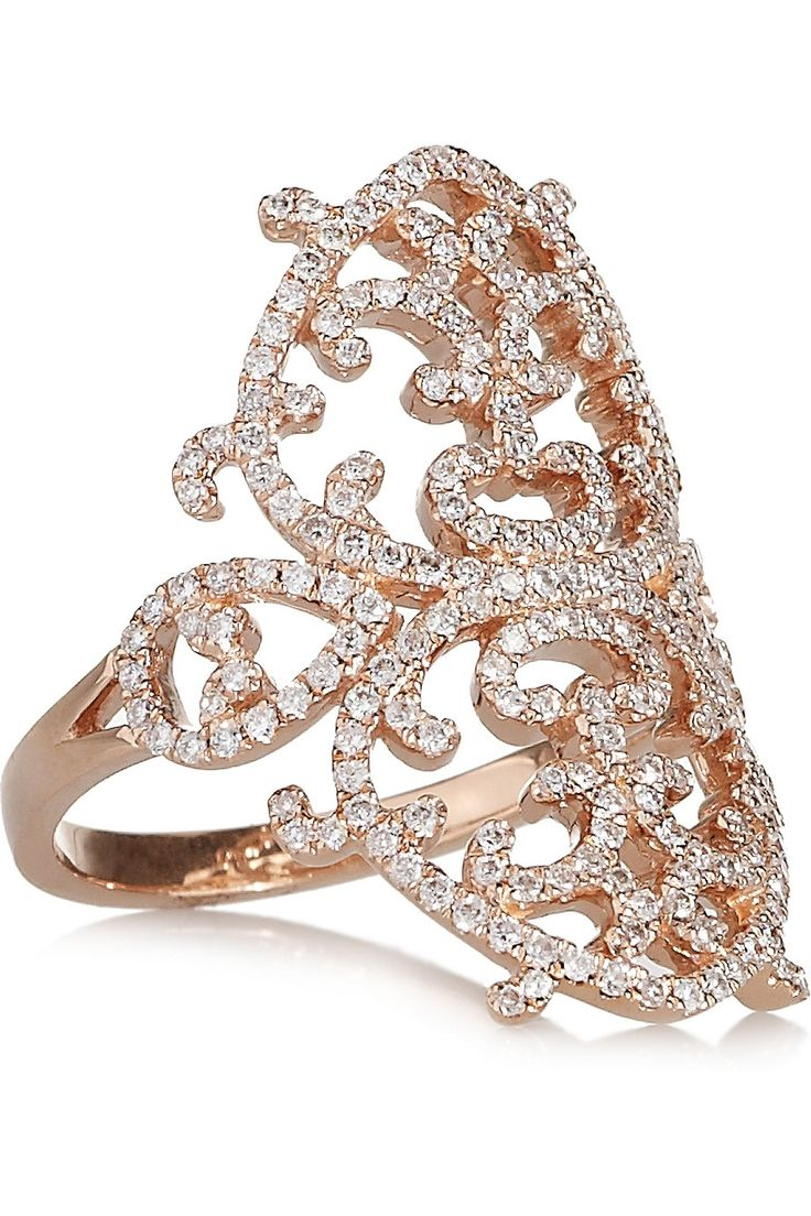 Diane Kordas | Arabesque 18-karat rose gold diamond ring | NET-A-PORTER.COM £3,405