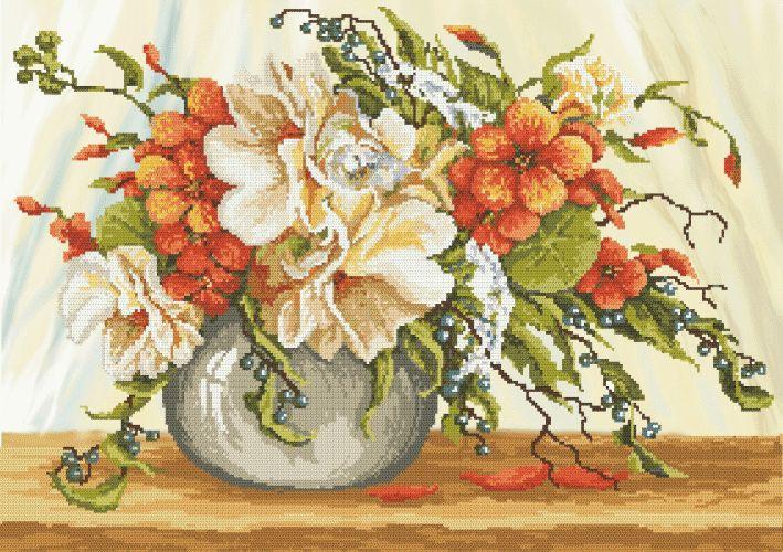 Cross stitch - flowers: Garden nasturtium