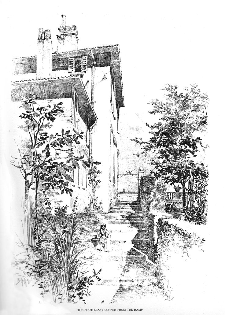 Bertram Grosvenor Goodhue, Architect.  The Southeast Corner From the Ramp. Pen & Ink.