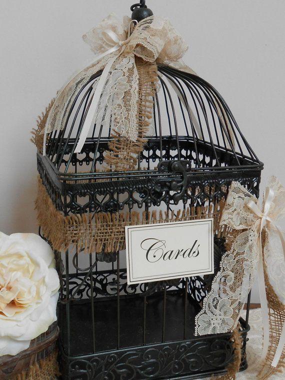 Birdcage Wedding Card Holder / Card Box / Wedding by YesMoreFunk