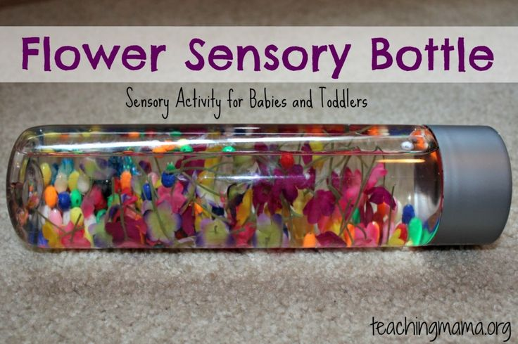 Flower Sensory Bottle from Teaching Mama Pinned by SOS Inc. Resources http://pinterest.com/sostherapy.