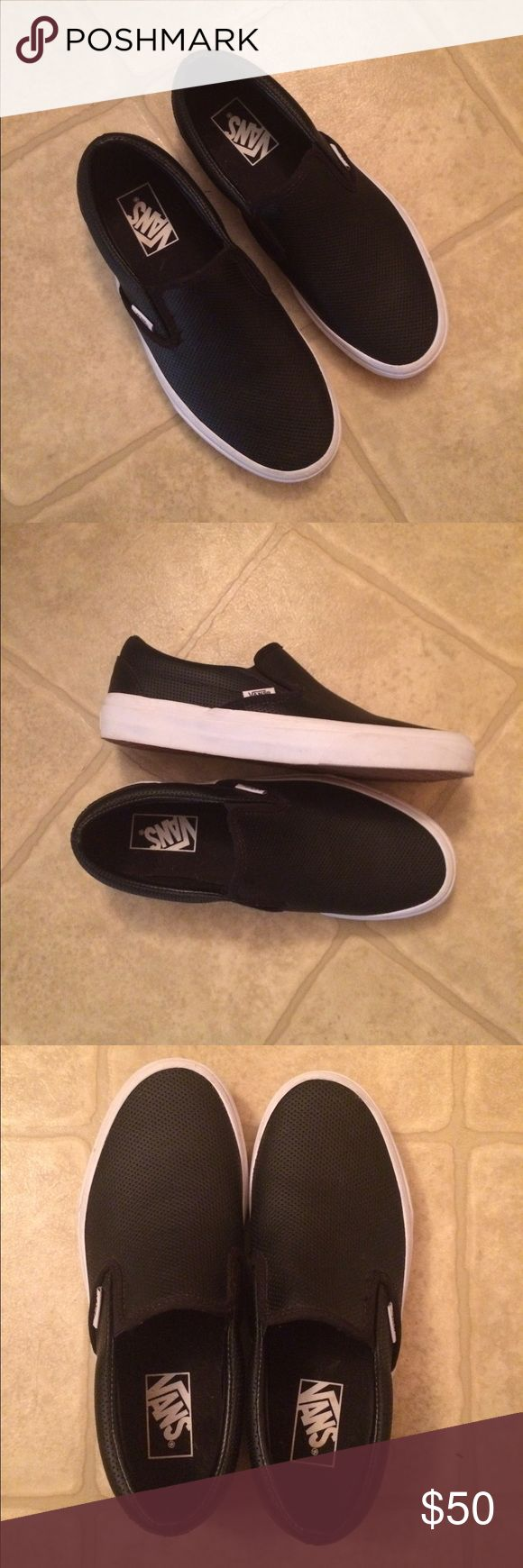 Vans Perforated Leather Slip-On shoe Classic Vans slip on shoe made from black perforated leather. Only worn twice, so these are pretty much brand new. They were a size too big for me. Vans Shoes Sneakers