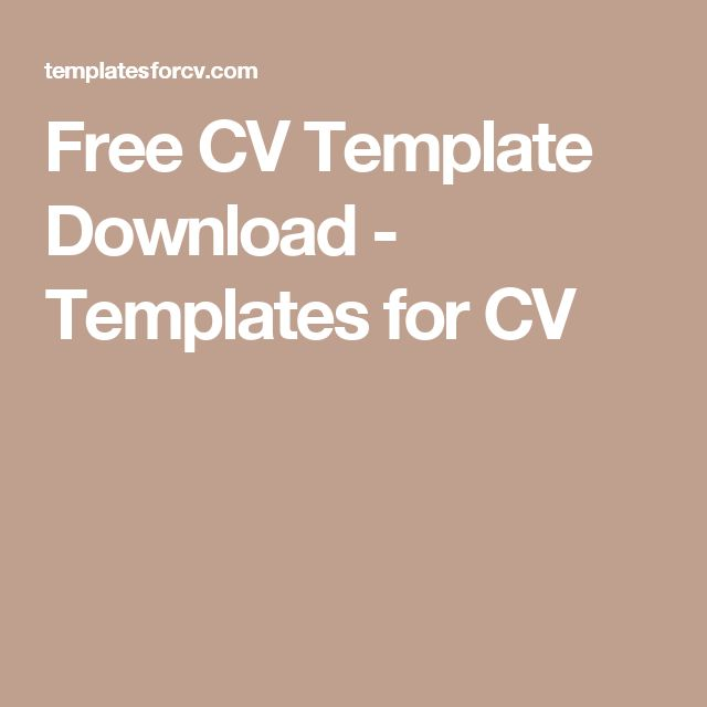 Free CV Template Download - Templates for CV