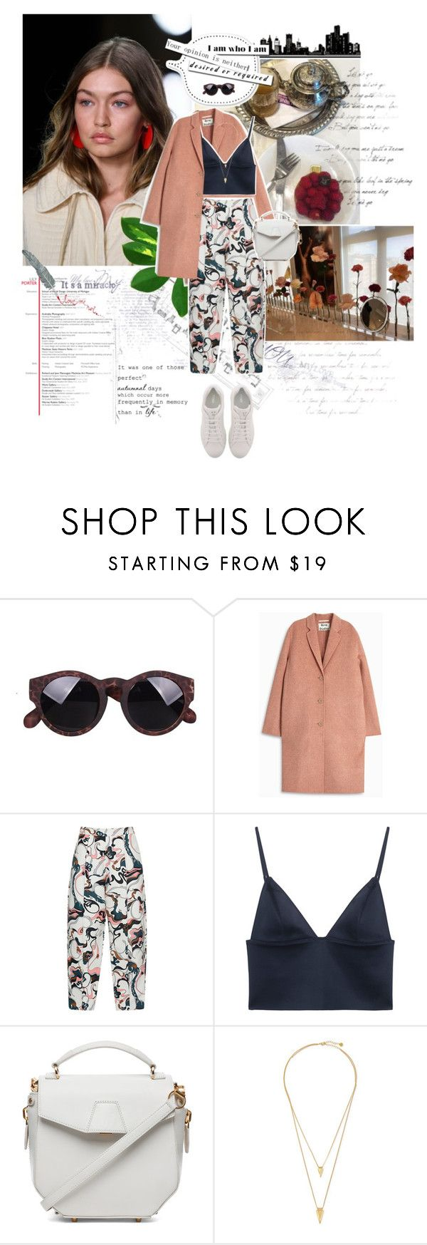 """She didn't leave enough money to pay the rent The landlord says that she's out in a week What a shame she was just getting comfy Now she's eating chocolate to induce sleep In a chemical world, it's very, very, very cheap"" by amnaasif ❤ liked on Polyvore featuring Acne Studios, Marni, T By Alexander Wang, Alexander Wang, Jules Smith and Fendi"