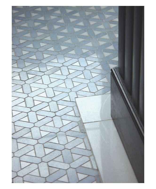Floor custom marble mosaic blue celeste amp white thassos