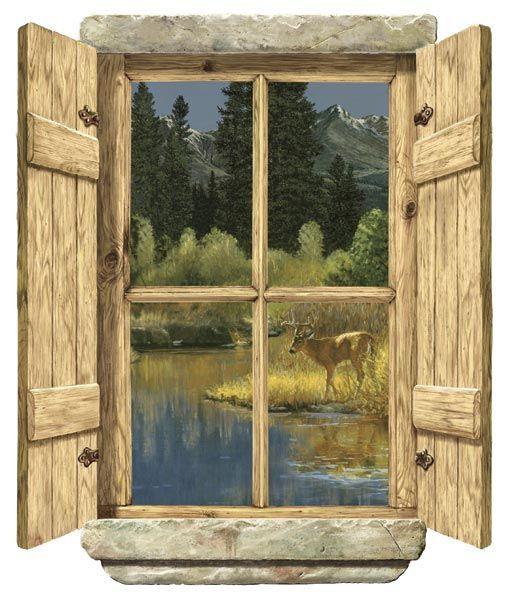 rustic window single deer peel stick wall mural wall on wall murals id=14530