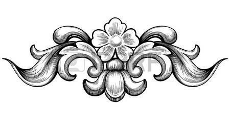 motif baroque: Vintage floral ornement baroque défilement feuillage gravure en filigrane élément de design rétro vecteur de style