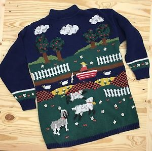 P' Galli Woman L Sweater Vintage Sheep Boat Apple Tree Dog Flowers Heart Vtg  | eBay
