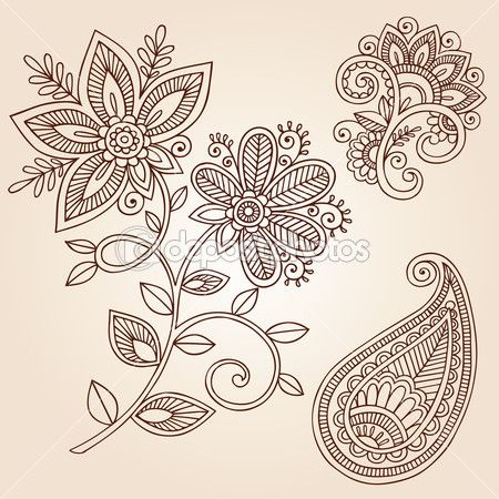 Hand-Drawn Henna Mehndi Tattoo Flowers and Paisley Doodles Vector Illustration Design Elements