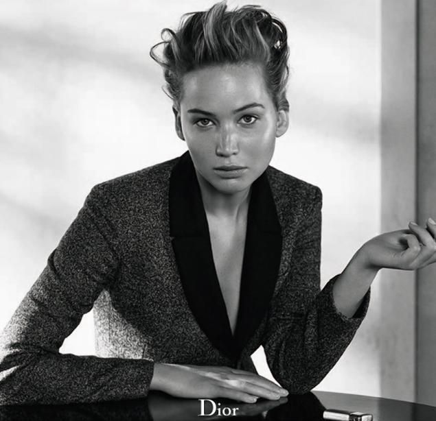 Lawrence was photographed with minimal makeup and tousled hair for the campaign.