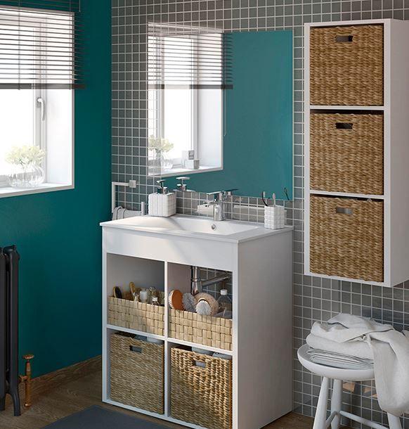 ** La combinacion de las texturas y colores muebles de baño baratos