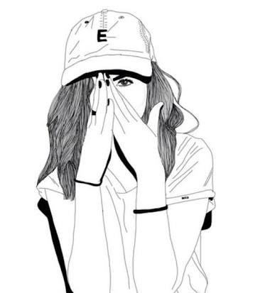 Black And White Outline Tumblr Girl Drawing