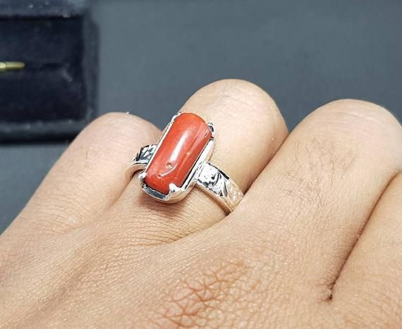 in Handmade 925 Sterling Silver Men\u2019s Ring Special Gift for Husband. Beautiful Natural Capsule Coral Marjan