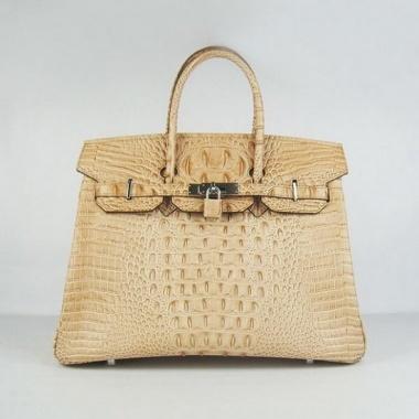 Designer Replica Hermes Birkin 35cm Crocodile Skin Leather Bag 6089 Dark Yellow Silver Hardware