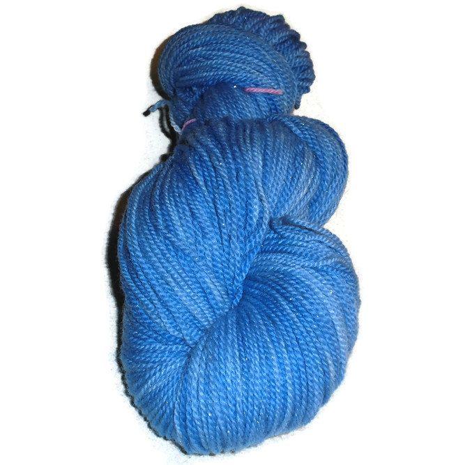 "Merino Glitter Luxury Sock Yarn Blue, Skyblue Hand Dyed ""Sky Blue"", 2-ply Sock Yarn, Blue, Sky Blue Yarn, Glitter, EU SELLER"
