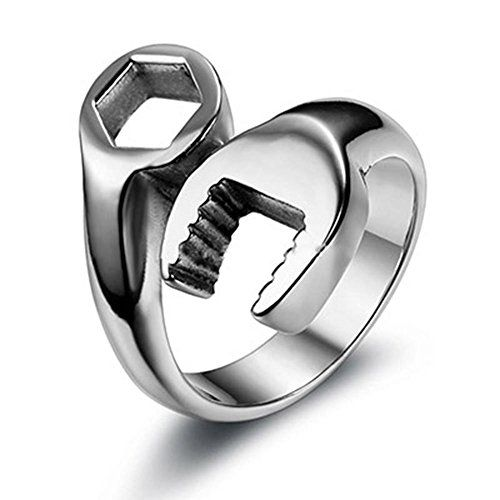 Fashion Men's 316L Stainless Steel Wrench Ring Cool Punk Biker Tools Rings for Men