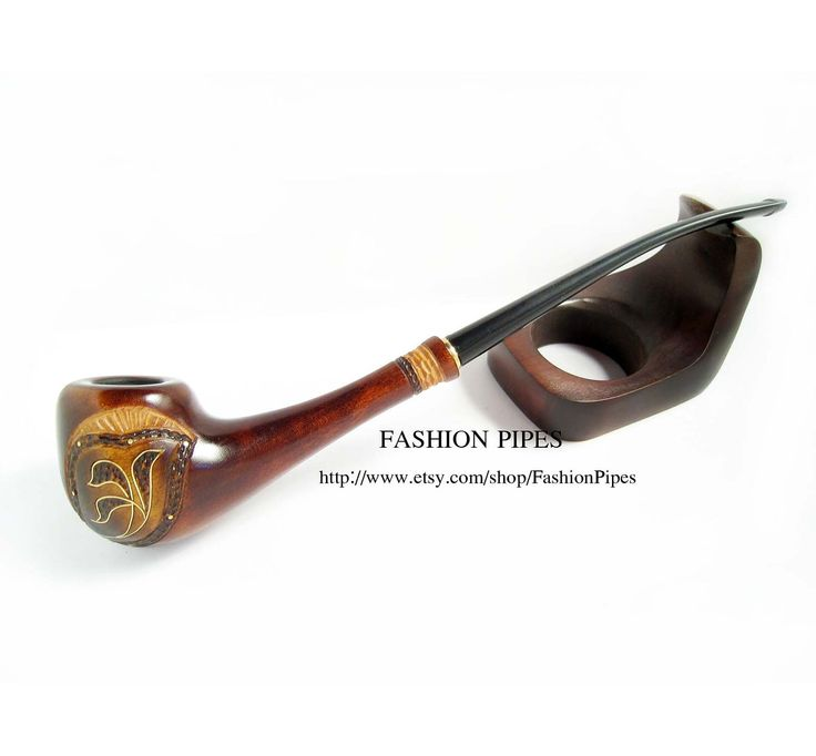 """Lady Wooden Tobacco pipe Inlaid """"Spring Style"""". Long smoking pipe Magic Wood Pipe, Exclusive Handmade. Limited edition.. $18.95, via Etsy."""