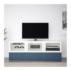 "BESTÅ TV unit with doors and drawers, white Valviken, dark blue clear glass - 70 7/8x15 3/4x25 1/4 "" - drawer runner, push-open - IKEA"