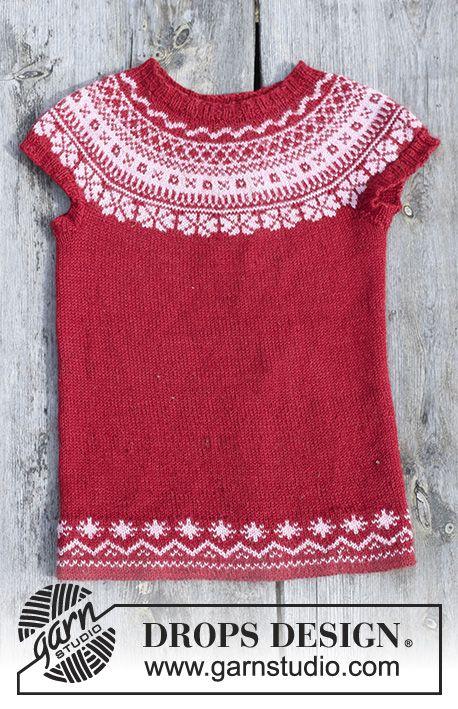 Tunika med runt ok och flerfärgat norskt mönster, stickad uppifrån och ner till barn. Storlek 2 - 12 år. Arbetet är stickat i DROPS Baby Merino.