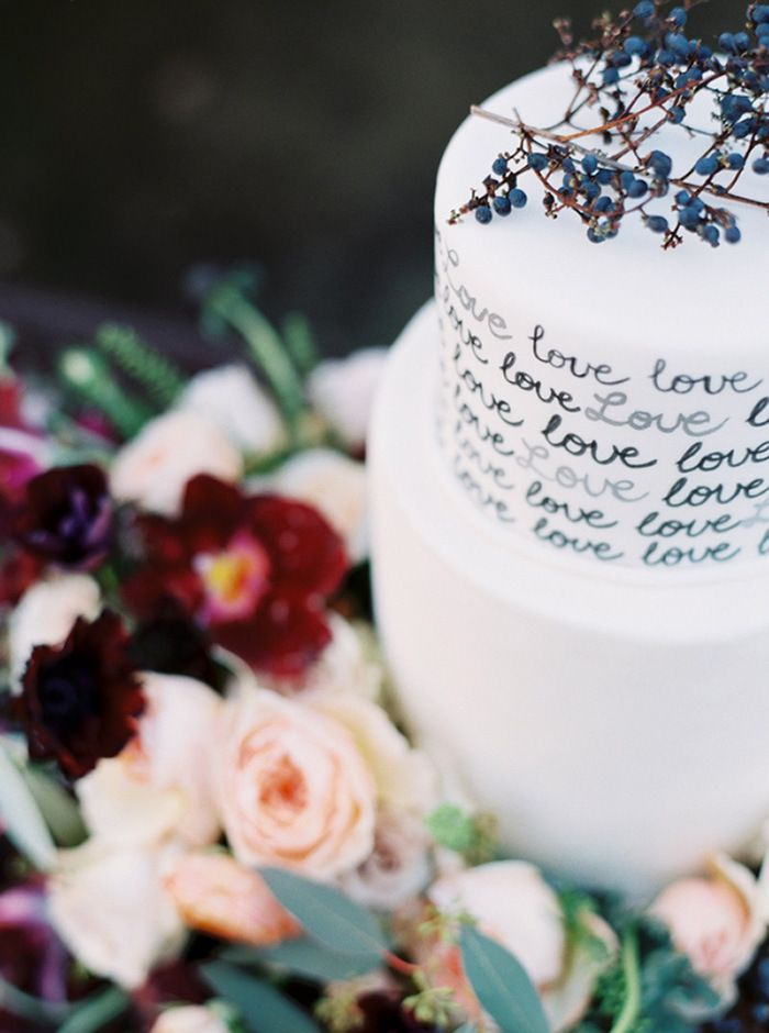 Hand Lettered Wedding Cake with Colorful Flowers