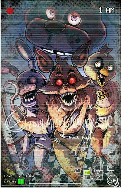 Freddy, Bonnie, Foxy, Chica, text, video camera; Five Nights at Freddy's